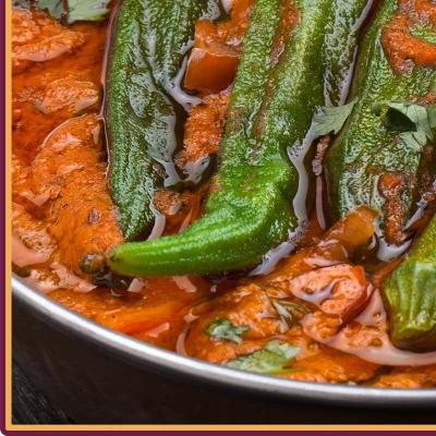 Bhindi Masala mit Reis